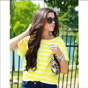 Anthropologie Postmark Yellow & White striped top